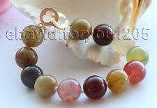 """8.5"""" Genuine Natural 14mm Multicolor Round Jade bracelet 14k #f1603!"""