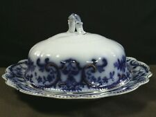 Antique  W.H.Grindley & Co. Portman Flow Blue Covered Butter Plate,England