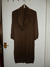 Oasis Cowl Neck Jumper Dress Khaki Olive Green Medium 10-12