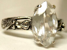 3ct natural diamond quartz antique 925 sterling silver ring size 7.5 USA