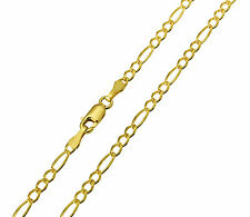 """14K Solid Yellow Gold DC Figaro Chain Necklace 2.7 mm 20  ( 1/8"""" width )"""