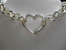 Tiffany & Co. Heart Clasp Pendant Link Necklace & Pouch -Versatile!! Authentic!!