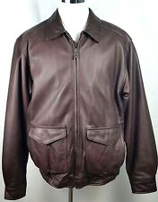 Sonoma Mens Leather Bomber Jacket Size LT Large Tall Brown Flag Lining Zip Front