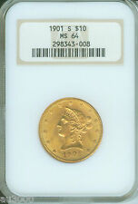 1901-S $10 Liberty Eagle Ngc Ms64 Ms-64 Old Thick Holder Pq +