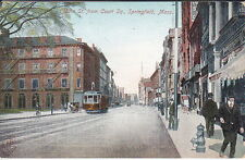 Main Street From Court Square, Springfield, MA, Pre-Linen  Postcard