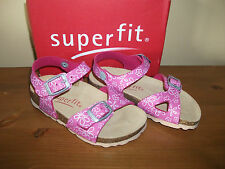 Girls SUPERFIT Pink Floral RUBBER 2 x Buckle CORKBED Sandal UK 8 Eur 26 NEW!