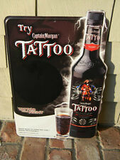 2006 CAPTAIN MORGAN TATTOO RUM PIRATE LIGHTNING KEG SWORD TIN SIGN PUERTO RICO