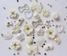 """24 x 3D nail art """"blanc ivoire & argent"""" strass fleurs, coeur bows"""