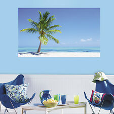 BEACH SCENE 3' x 5' PEEL AND STICK WALL DECAL MURAL Palm Tree Stickers Decor