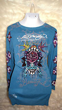 Womens XL Ed Hardy Tunic Button Down Teal Embelished New School Art