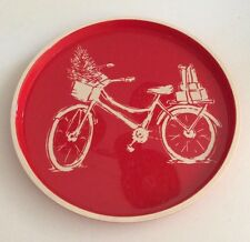 """Threshold Melamine 12"""" Round Serving Tray Red Vintage Design Bicycle Christmas"""