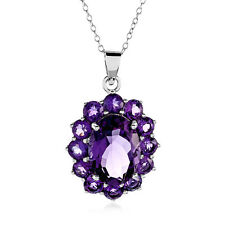 "8.10 Carat Genuine Amethyst Pendant in Sterling Silver with 18"" Chain"