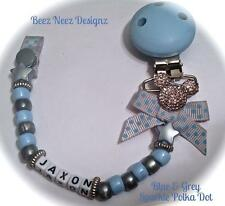 ❤ PERSONALISED - Your Name Choice ❤ Blue & Grey Polka Dot Sparkle ❤ DUMMY CLIP ❤