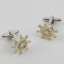 Golden Ships Wheel Cufflinks Sailing Cuff Links NEW in gift box 19984