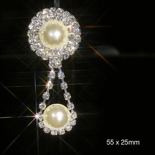 5 x PEARL & DIAMANTE DROP PENDANT CRYSTAL EMBELLISHMENT IDEAL FOR WEDDING INVITE