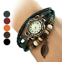 Classic Vintage Women Wrap Weave Around Leather Strap Bracelet Watch Gift Best