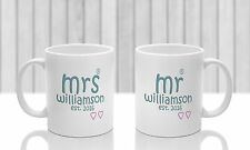 Bride and groom mug gift 2016, Mr Mrs present for newly weds can be PERSONALISED