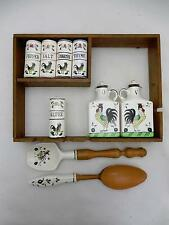 Rooster & Roses Shelf Set Book Shape Spice Cannisters, Oil & Vinegar + 10 Pieces