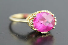 Created Pink Sapphire Filigree Crown Ring Technibond HSN 925 Sterling Silver
