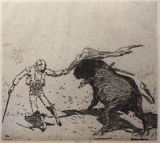 Willi Geiger: Originalradierung Stierkampf 1912 Zeitschrift f. Bildende Kunst xz