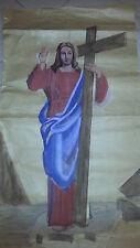DIPINTO SU CARTA CRISTO RISORTO GESU JESUS PAINTING PAPER CHRISTMAS NATALE