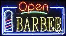 "NEW ""OPEN BARBER"" 37x20x3 BORDER REAL NEON SIGN W/CUSTOM OPTIONS 15460"