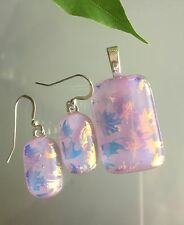Fused Dichroic Art Glass Jewelry Matching Earrings Pendant Set Leaf Pattern