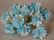 50 TURQUOISE WHITE ASTER daisy Mulberry Paper flower wedding miniature cardmakin