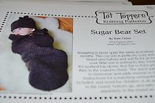 Tot Toppers Knitting Pattern Sugar Bear set Cocoon Hat Preemie to 6 mos
