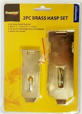 2pc Brass Hasp Set Cabinet Gate Door Latch Security Lock Heavy Duty 13cm & 9.5cm