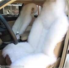 1pc Genuine Real  White Fur Sheepskin Car Seat Cover One Size Fits Most Cars