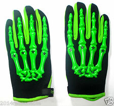 Racing Motorcycle Dirt Bike Skull gloves green