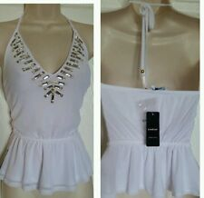 NWT BEBE EMBELLISHED HALTER TOP SIZE L Divine mesh halter top turning heads SEXY