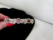 VINTAGE MONET RHINESTONE BANGLE BRACELET amethyst purple gold tone-approx 34 G