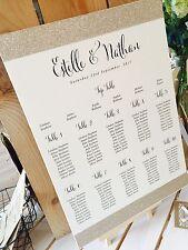 """Rustique/vintage ivoire """"estelle"""" A3 table de mariage assise plan avec paillettes bandes"""