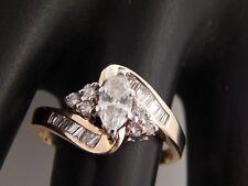 Lovely Marquise I/VS Quality Diamond Engagement Ring Large .88 tcw 14k YG Estate
