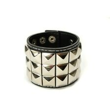 Mens 3 Row Silver Pyramid Studded Wristband Black - Emo Metal Gothic