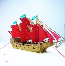 3d Sailing Ship Pop up Card, 3d Pop up Cards, Kirigami Card, Free Shipping!