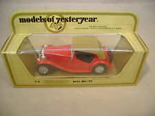 MATCHBOX LESNEY MODELS OF YESTERYEAR Y-8 RED 1945 MG TC WITH TAN ROOF MIB