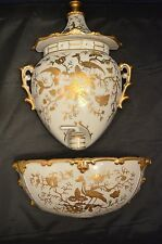 Lenwile China Ardalt Japan White & Gold 3 Piece Wall Water Spout Fountain
