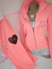 Nwt Victoria's Secret Track Suit Campus Crop Sweatpants Hoodie Jacket Coral PiNK