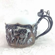 Antique Milk Glass Sterling Art Nouveau Miniature Demitasse Cup Repousse Flowers
