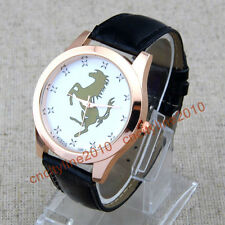 HORSE Rose Gold Dial Diamond Leather Band Unisex Man Women Quartz Wrist Watches