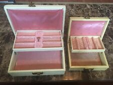 Lot Of 2 Vintage Mele Jewelry Boxes| Creme & Gold Tone|Pink Velvet Lining|1 Key
