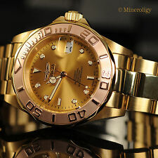 Invicta Pro Diver Automatic 18k Gold & Rose Gold Plated $595 MSRP Mens Watch NEW