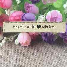 100 X Sticker Stickers 'Hand made with love' Wedding favours Kraft Craft Labels