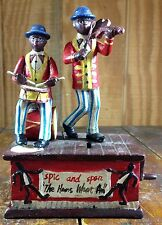 BLACK AMERICANA MINSTRELS SHOW SPIC & SPAN MUSICAL MECHANICAL CAST IRON BANK