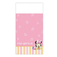 """96"""" x 54"""" Disney Baby Minnie Mouse 1st Birthday Party Plastic Table Cover"""
