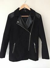 H&M Women's Black Biker Winter Coat Jacket Size 12