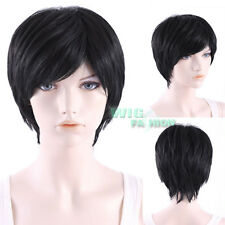 9 inches Heat Resistant Short Straight Black Fashion Hair Wig